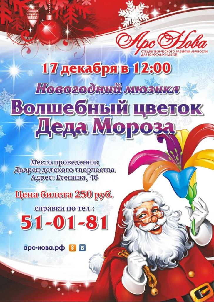 афиша новогоднего мюзикла волшебный цветок деда мороза